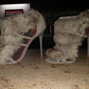 Charles Jourdan gray fur booties